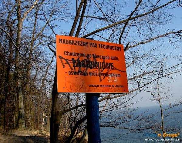 ostrzeżenie na gdyńskim klifie