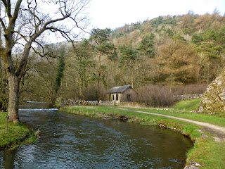 A waterworks building next to the River Dove