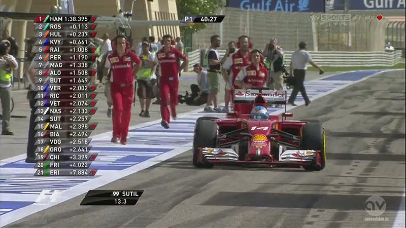 Фернандо Алонсо выезжает на разной резине Pirelli во время первой сессии свободных заездов на Гран-при Бахрейна 2014