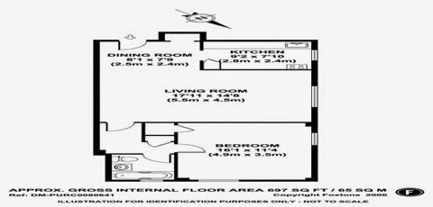1 bedroom, 1 bathroom Parkchester, Bronx, New York apartment and condominium floor plan - 697 sq ft.