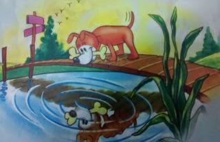 El perro y su imagen Fabulas infantiles