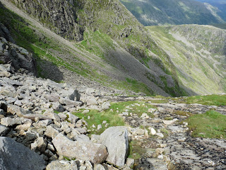 Its getting steep and slippy - The Great Slab - Bowfell
