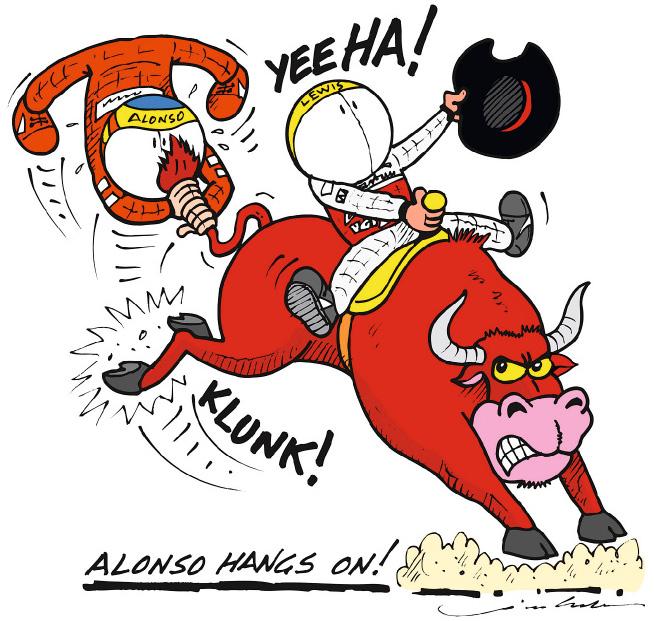 Фернандо Алонсо на хвосте Льюиса Хэмилтона и Red Bull - комикс Jim Bamber по Гран-при США 2012