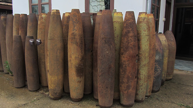 Bomb casings outside the tourism office.