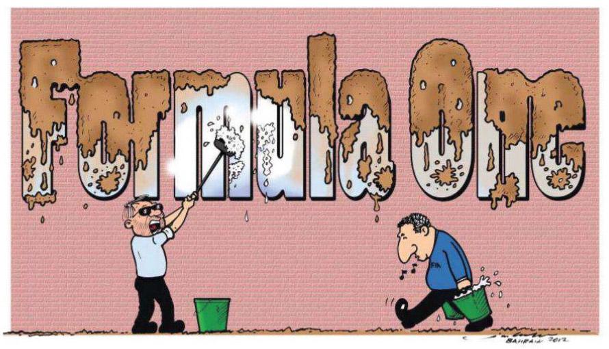 Берни Экклстоун и Жан Тодт отчищают имя Формулы-1 после Гран-при Бахрейна 2012 комиксы Jim Bamber