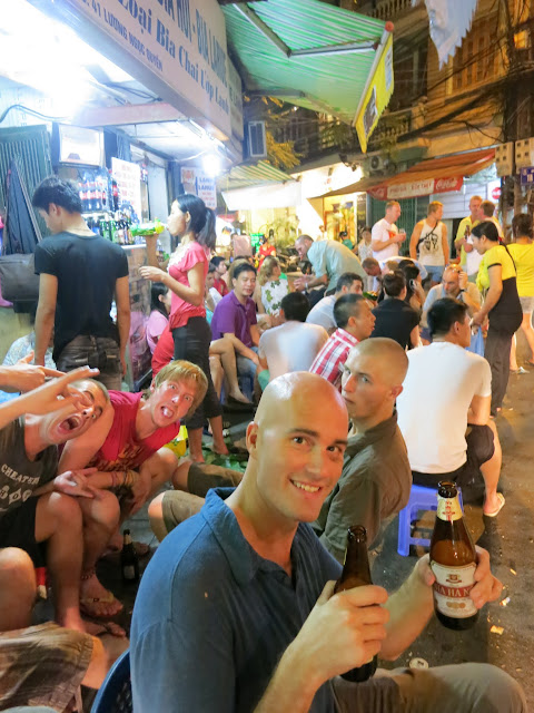 Cheap streetside beer from the Bia Hoi.