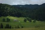 Accrochée, seule sur un des versants de la vallée de la Valserine (pas de retouche sous la main)