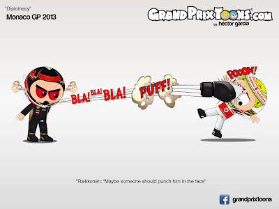 Кими Райкконен ударяет Серхио Переса - комикс Grand Prix Toons по Гран-при Монако 2012
