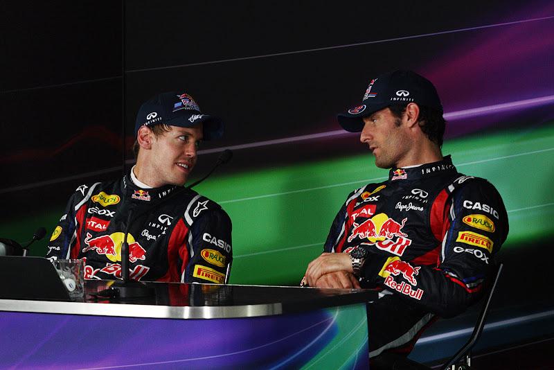 Себастьян Феттель и Марк Уэббер на пресс-конференции после гонки на Гран-при Кореи 2011