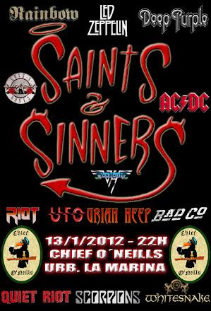 Cartel actuación Saints & Sinners el 13 de enero de 2012 en el pub Chief O´Neills de la Urb. La Marina a las 22:00