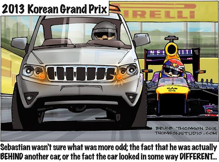 Себастьян Феттель в замешательстве за джипом - комикс Bruce Thomson по Гран-при Кореи 2013
