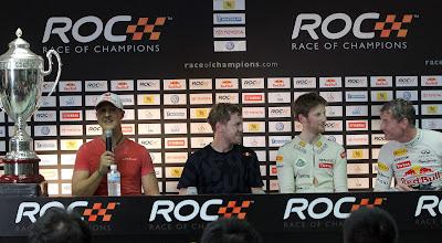 Себастьян Феттель Михаэль Шумахер Ромэн Грожан Дэвид Култхард на пресс-конференции Гонки чемпионов 2012
