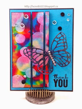 Linda Vich Creates: Butterfly and Broken Bokeh. A bold bokeh background is given a new life by cutting it into strips and adhering it to a card stock background adorned with a glittery butterfly from the Butterfly Thinlits.