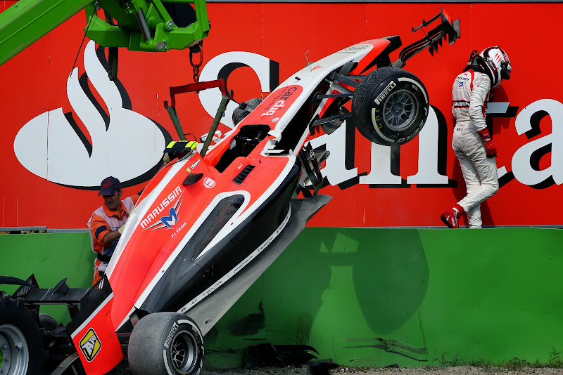 Макс Чилтон и разбитая Marussia на Гран-при Италии 2014