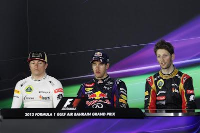 пилоты на пресс-конференции в воскресенье на Гран-при Бахрейна 2013