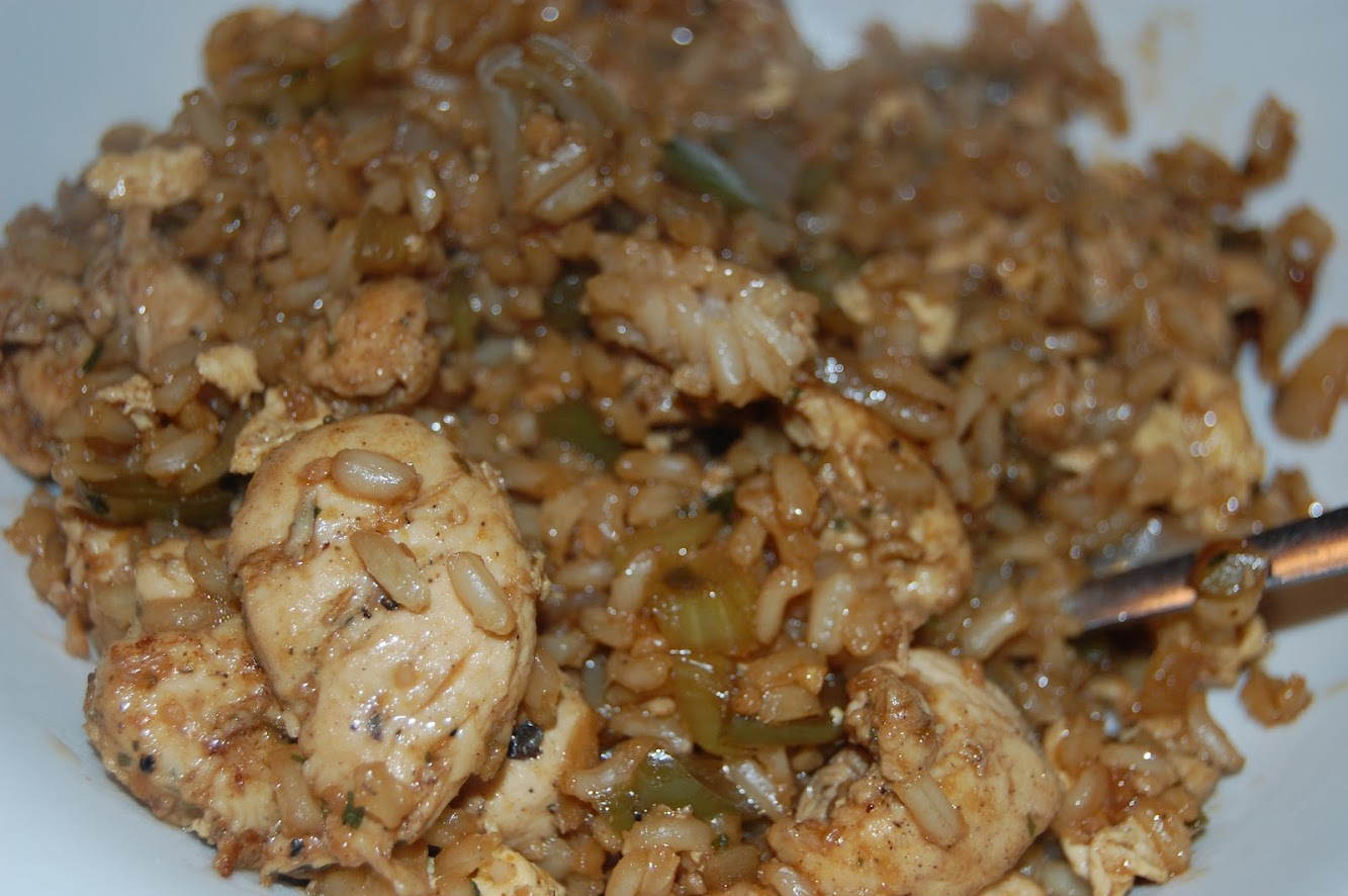 Dinner w/Debz: Carribbean Chicken & Fried Brown Rice
