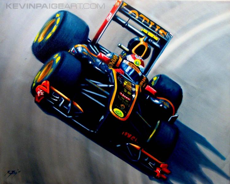 рисунок Виталия Петрова за рулем болида Lotus Renault 2011 от Kevin Paige Art