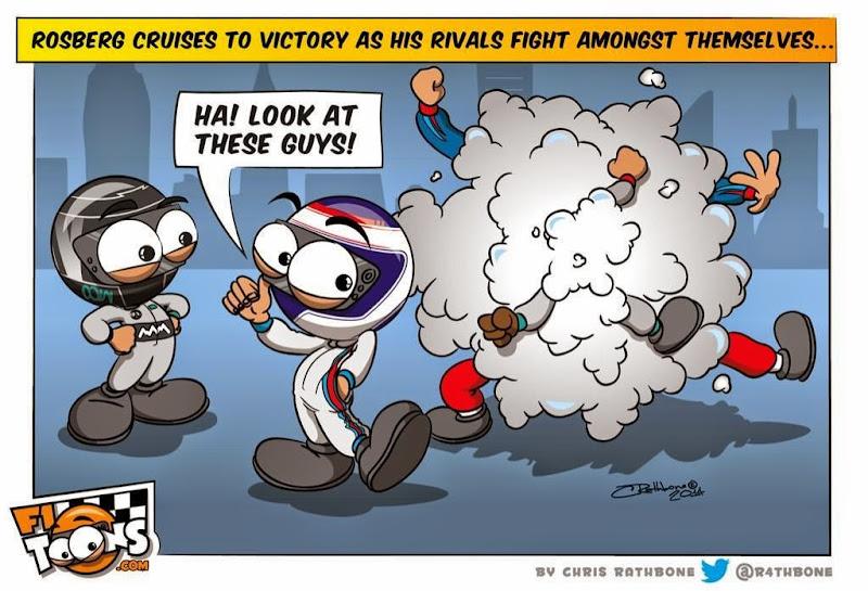Нико Росберг побеждает на Хоккенхаймринге - комикс Chris Rathbone по Гран-при Германии 2014
