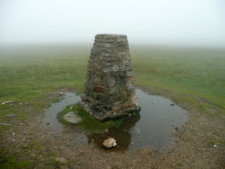 Loadpot Hill Summit Trig Point in the cloud. There were no views from here.