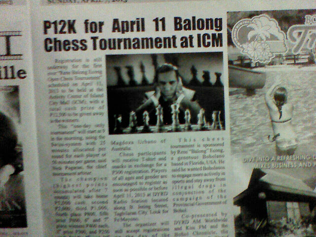 "chess+news+april+7+2013 - All Set for Rene ""Balong"" Econg Open Chess Tournament Apr 11 - Sports and Fitness"