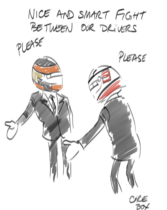 Cirebox live cartoon - Lap 35/57. Reflections on Kimi and Romain's battle