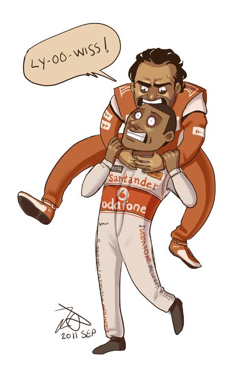 Фелипе Масса душит Льюиса Хэмилтона - карикатура после уикэнда на Гран-при Сингапура 2011