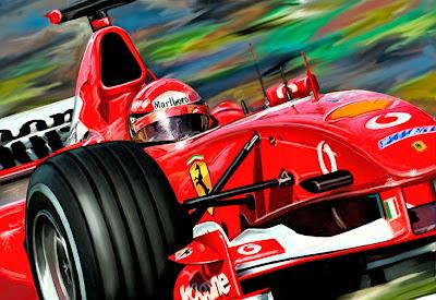 Михаэль Шумахер в чемпионской Ferrari 2006 - рисунок David F. Kyte