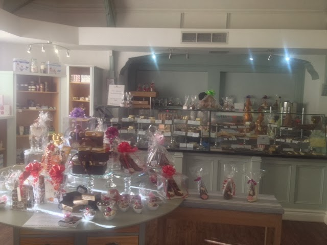 Cakes and easter eggs on display at The Ash chocolatier