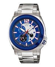 Jam Tangan Pria Formal Tali Stainless Latar Putih Casio Edifice : ESK-300D-7AV