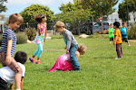 Recess time is fun playtime. Sometimes, children play independently. At other times, teacher introduce children to old-fashioned playground games, like freeze tag.