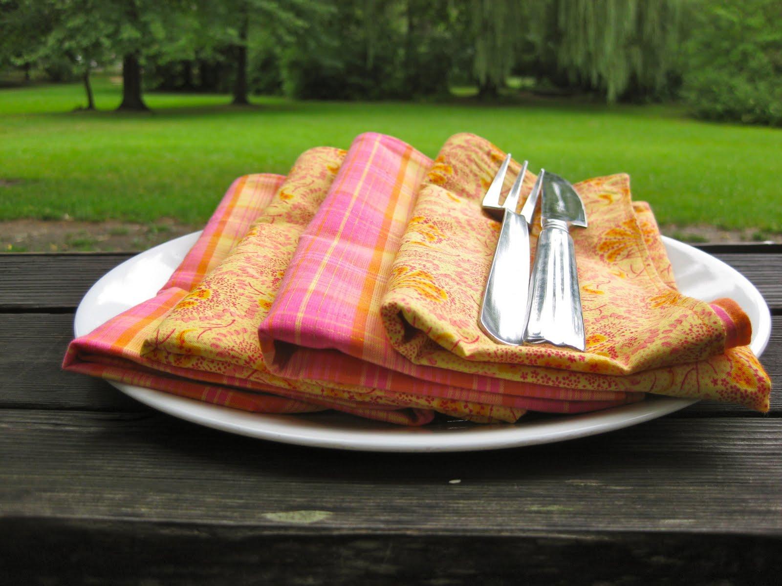 color napkins pink orange