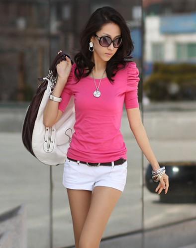 New-Korea-Girl-Puff-Sleeve-Solids-Plain-Basic-Tee-Tops-T-shirt-Casual-Soft-Comfy