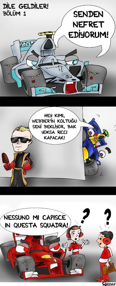комикс Omer про Pirelli и переходе Кими Райкконена в Red Bull