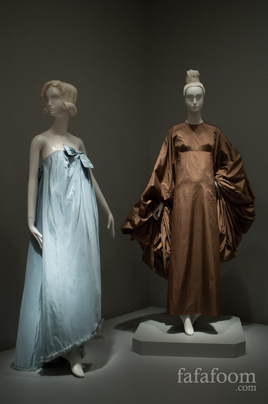 Left to right: Hubert de Givenchy, Evening dress, 1960. Madame Alix Gres, Evening Dress, 1969.