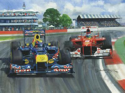 Марк Уэббер и Фернандо Алонсо в Сильверстоуне на Гран-при Великобритании 2012 - картина Michael Turner