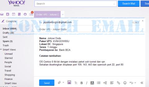 Contoh pengiriman email pemesanan VPS