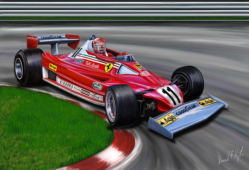 Ники Лауда Ferrari 312 T2 на Гран-при Германии 1977 - рисунок David F. Kyte