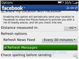 Notifikasi Facebook di BlackBerry