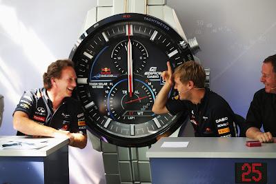 Себастьян Феттель и Кристиан Хорнер в викторине Speed and Intelligence на Гран-при Италии 2012