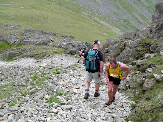 Runners on the Ennerdale Horseshoe try to avoid Richard on the descent of Kirk Fell.