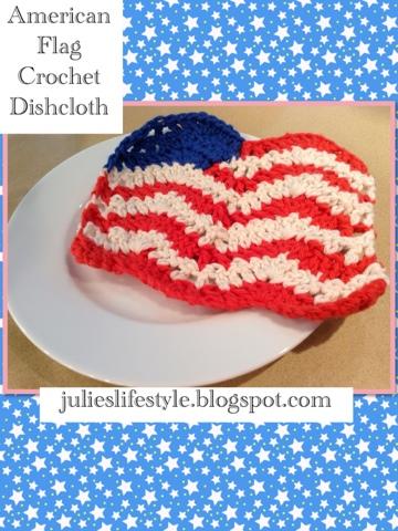 Julies Creative Lifestyle: American Flag Crochet Dishcloth