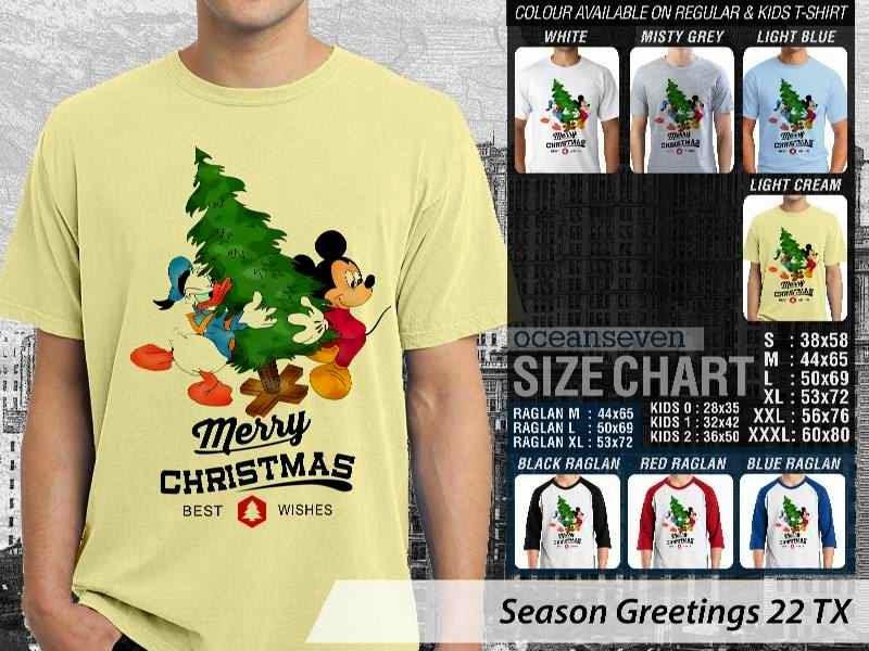 Kaos Natal Season Greetings 22 mickey mouse  distro ocean seven