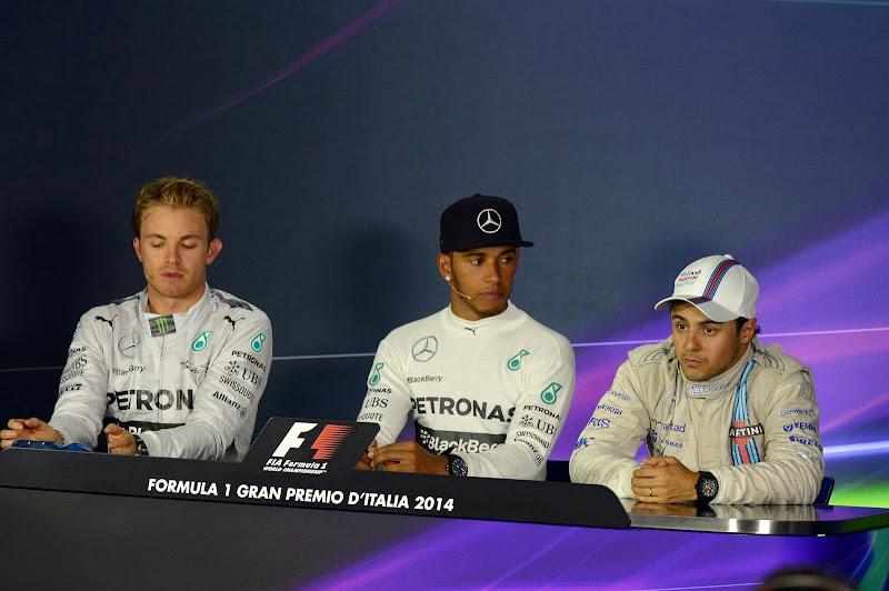 Нико Росберг, Льюис Хэмилтон и Фелипе Масса на пресс-конференции Гран-при Италии 2014