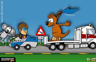 Себастьян Феттель на Abbey Red Bull и грузовик Альберт-Парка на Гран-при Австралии 2012 - комикс aleXstep