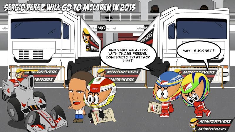 Серхио Перес присоединиться к McLaren в 2013 - комикс Los MiniDrivers