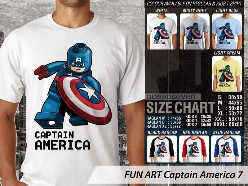 KAOS Captain America 7 Kartun Lucu distro ocean seven
