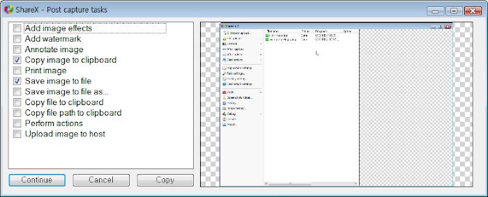 ShareX Post capture tasks window