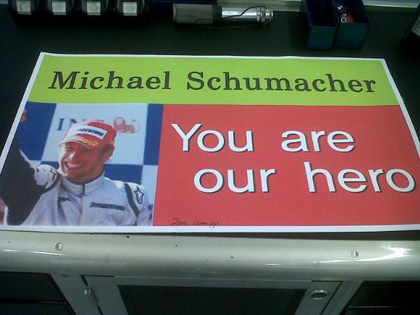 баннер болельщиков Михаэля Шумахера на Гран-при Кореи 2012