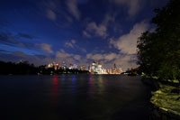 Brisbane by night, seen from the bottom of Kangaroo Point Cliffs