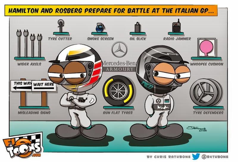 Приготовления Хэмилтона и Росберга к сражению - комикс Chris Rathbone перед Гран-при Италии 2014